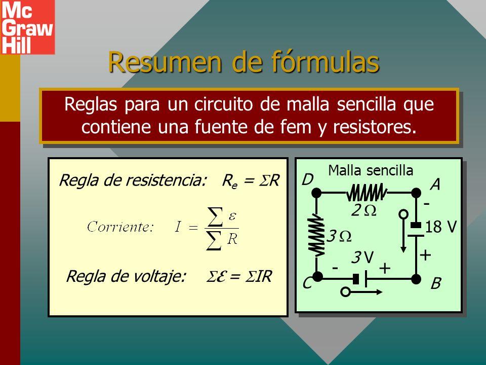 Ejemplo 5 (Cont.) Se pueden resolver tres ecuaciones independientes. (3) 10I 3 - 5I 2 = 3 A (1) I 2 + I 3 = I 1 (2) 5I 1 + 10I 2 = 12 A 15I 3 + 5I 2 =