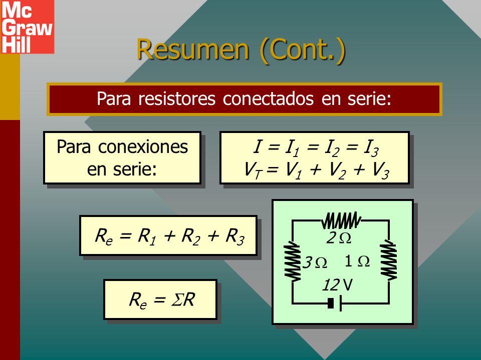 Resumen de fórmulas Reglas para un circuito de malla sencilla que contiene una fuente de fem y resistores. 2 3 V +- + - 18 V A C B D 3 Malla sencilla