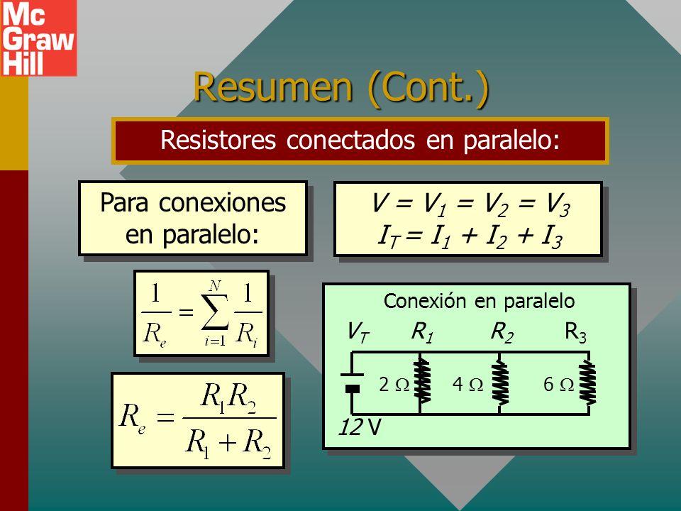 Resumen (Cont.) Para resistores conectados en serie: R e = R 1 + R 2 + R 3 Para conexiones en serie: I = I 1 = I 2 = I 3 V T = V 1 + V 2 + V 3 R e = R