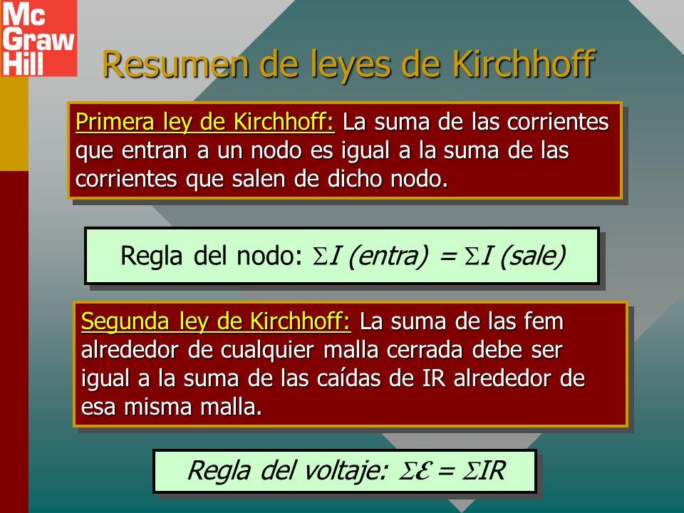 Resumen (Cont.) Resistores conectados en paralelo: Para conexiones en paralelo: V = V 1 = V 2 = V 3 I T = I 1 + I 2 + I 3 R3R3 R2R2 12 V R1R1 2 4 6 VT