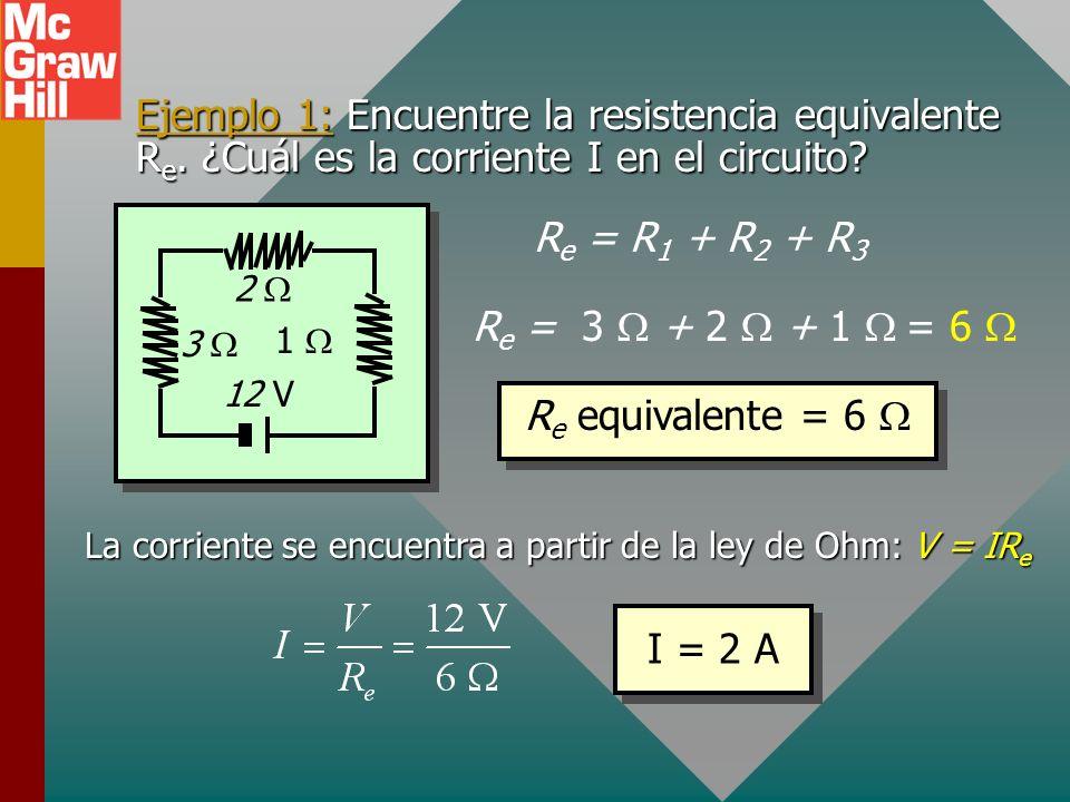 Resistencia equivalente: Serie La resistencia equivalente R e de algunos resistores conectados en serie es igual a la suma de las resistencias individ