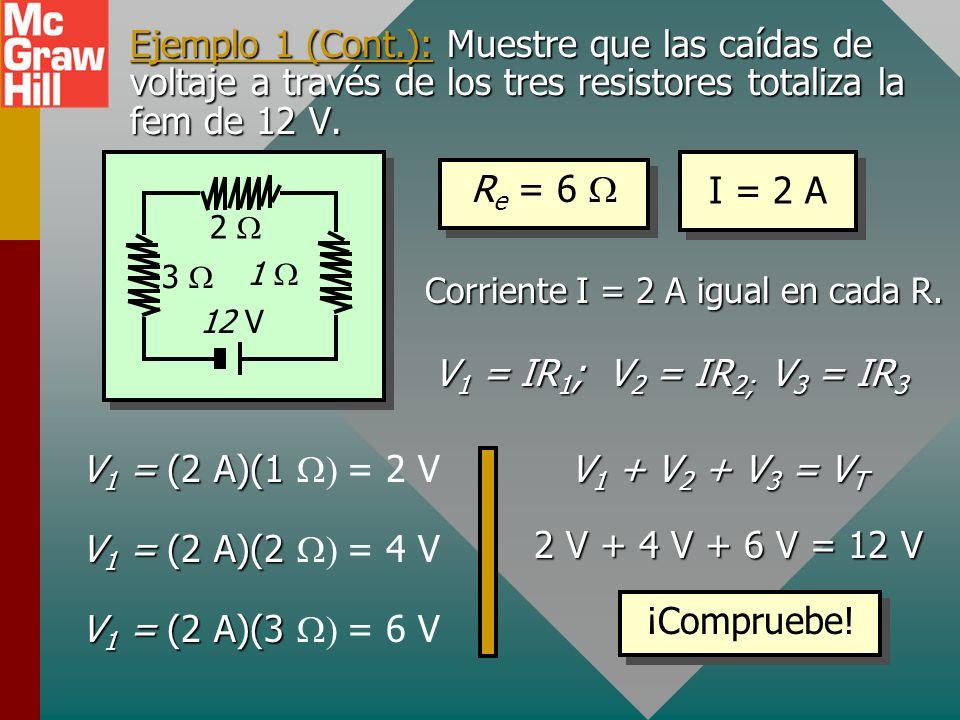 Ejemplo 1: Encuentre la resistencia equivalente R e. ¿Cuál es la corriente I en el circuito? 2 12 V 1 3 R e = R 1 + R 2 + R 3 R e = 3 + 2 + 1 = 6 R e