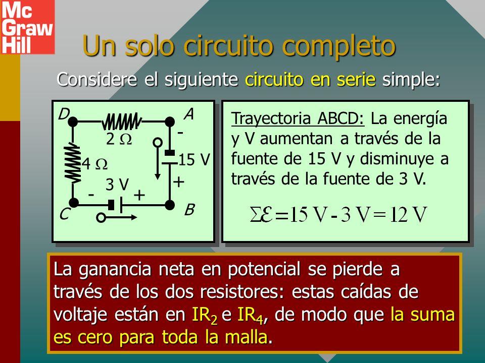 Fuentes de FEM en serie La dirección de salida de una fuente de fem es desde el lado +: E +- a b Por tanto, de a a b el potencial aumenta en ; de b a