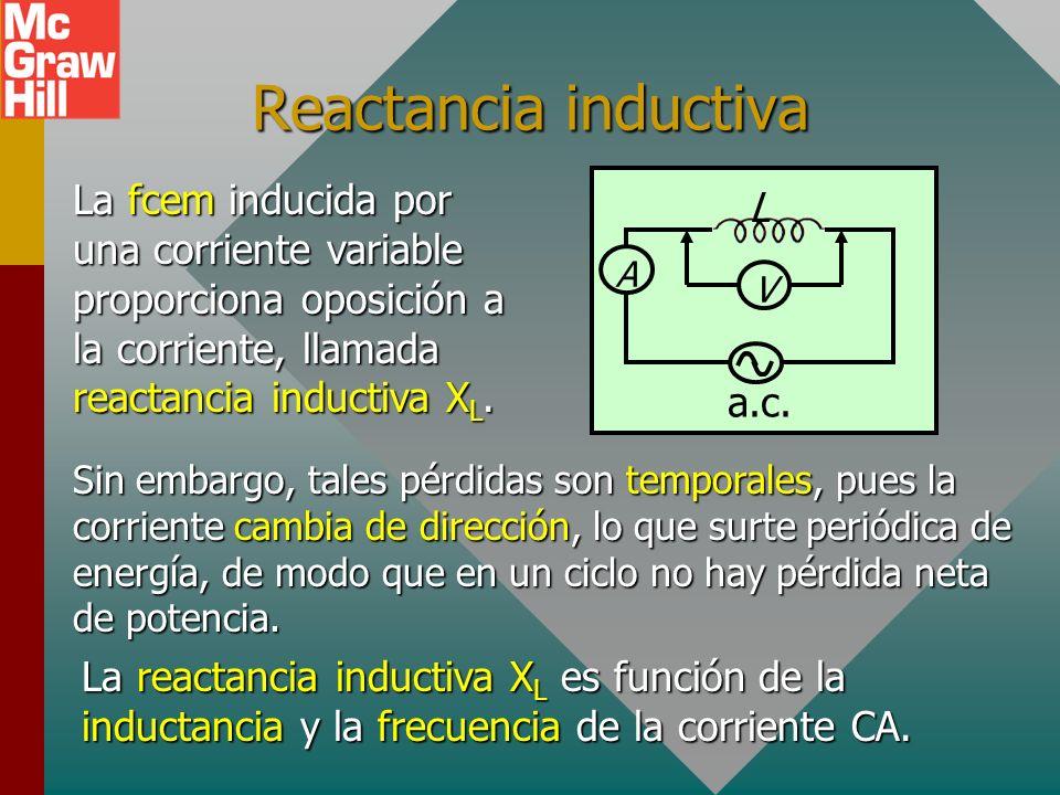 Reactancia inductiva A L V a.c.