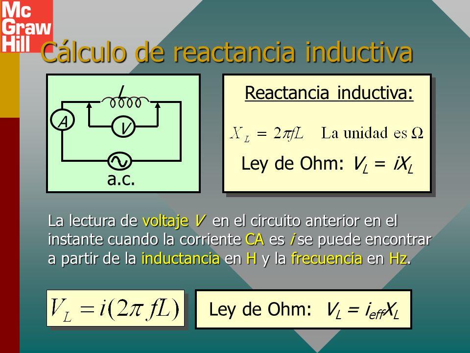Cálculo de reactancia inductiva A L V a.c.