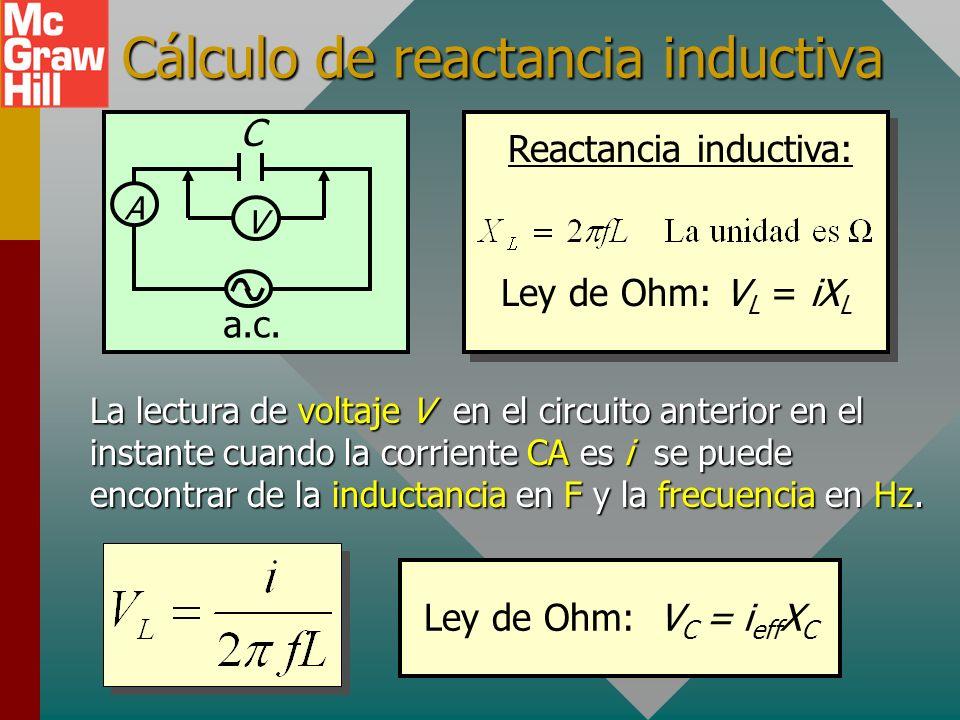 Cálculo de reactancia inductiva La lectura de voltaje V en el circuito anterior en el instante cuando la corriente CA es i se puede encontrar de la inductancia en F y la frecuencia en Hz.