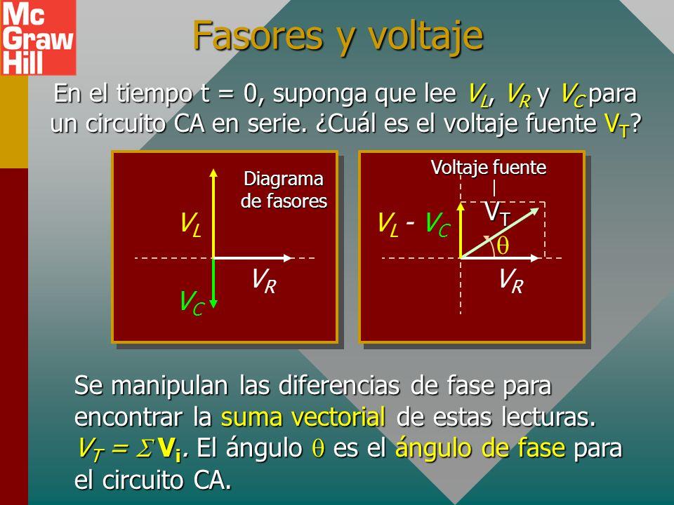 Fasores y voltaje En el tiempo t = 0, suponga que lee V L, V R y V C para un circuito CA en serie.