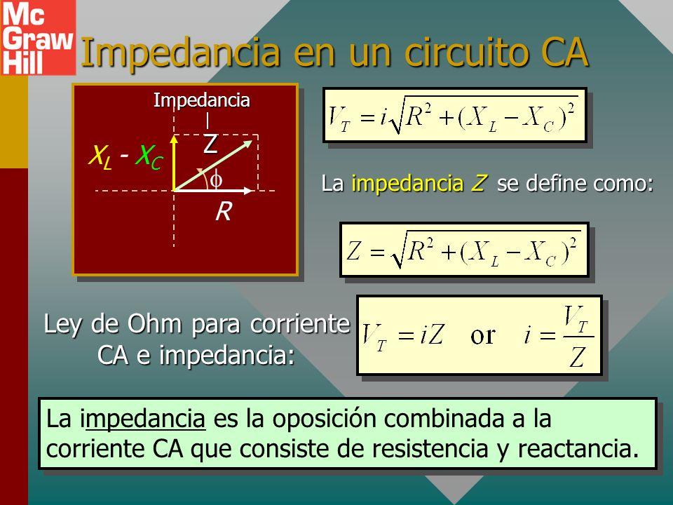 Impedancia en un circuito CA R X L - X C ZImpedancia La impedancia Z se define como: Ley de Ohm para corriente CA e impedancia: La impedancia es la oposición combinada a la corriente CA que consiste de resistencia y reactancia.