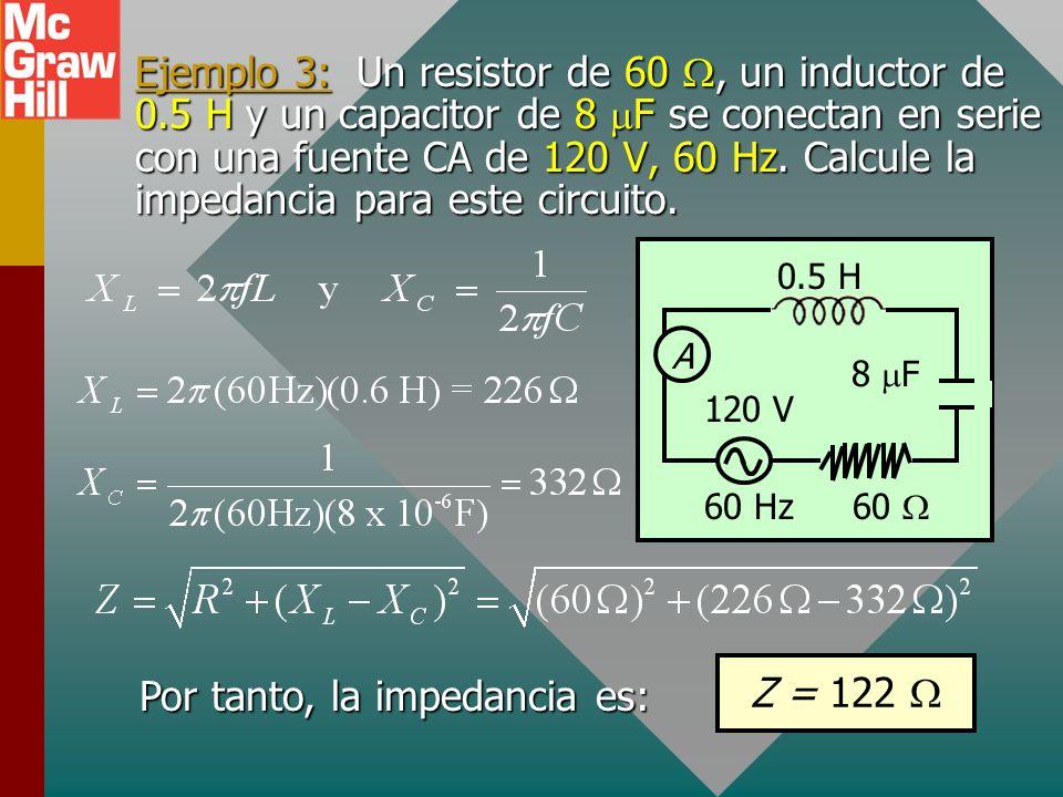 Ejemplo 3: Un resistor de 60, un inductor de 0.5 H y un capacitor de 8 F se conectan en serie con una fuente CA de 120 V, 60 Hz.