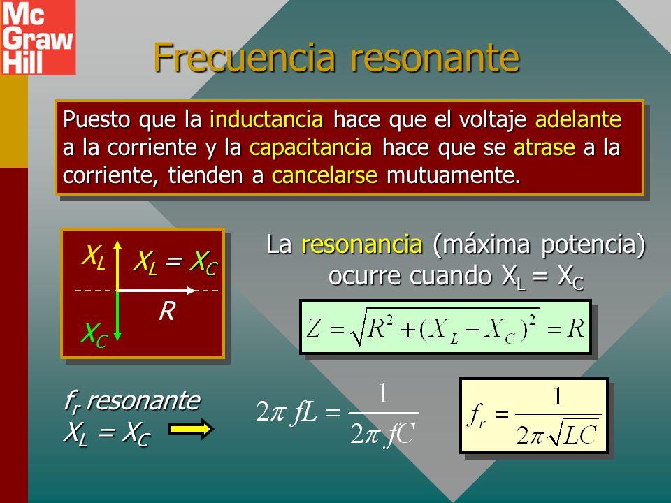 Frecuencia resonante Puesto que la inductancia hace que el voltaje adelante a la corriente y la capacitancia hace que se atrase a la corriente, tienden a cancelarse mutuamente.