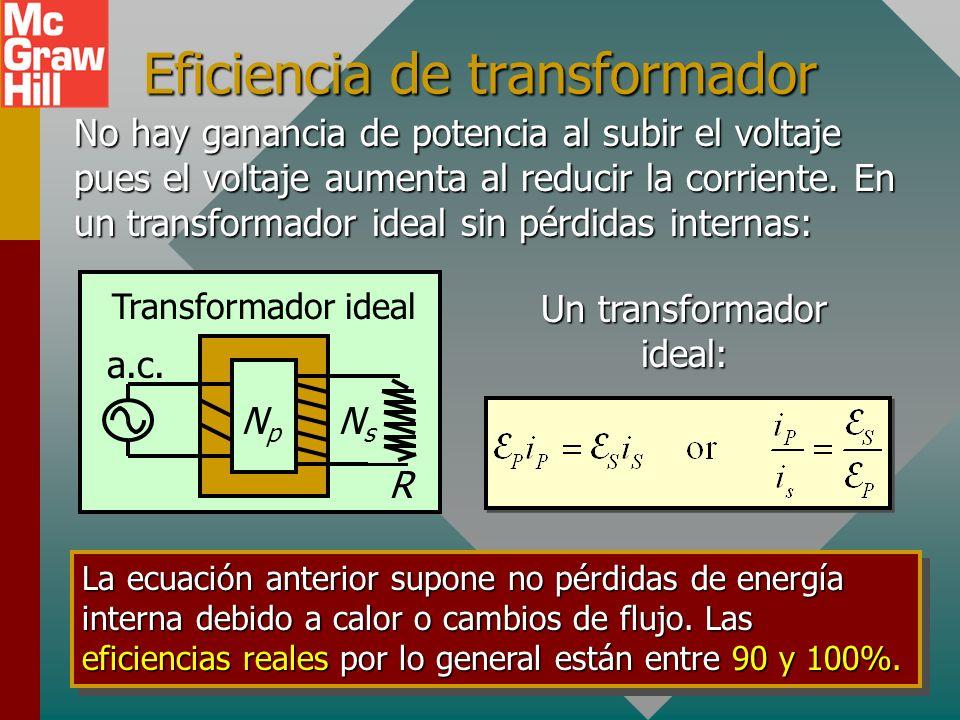 Eficiencia de transformador No hay ganancia de potencia al subir el voltaje pues el voltaje aumenta al reducir la corriente.