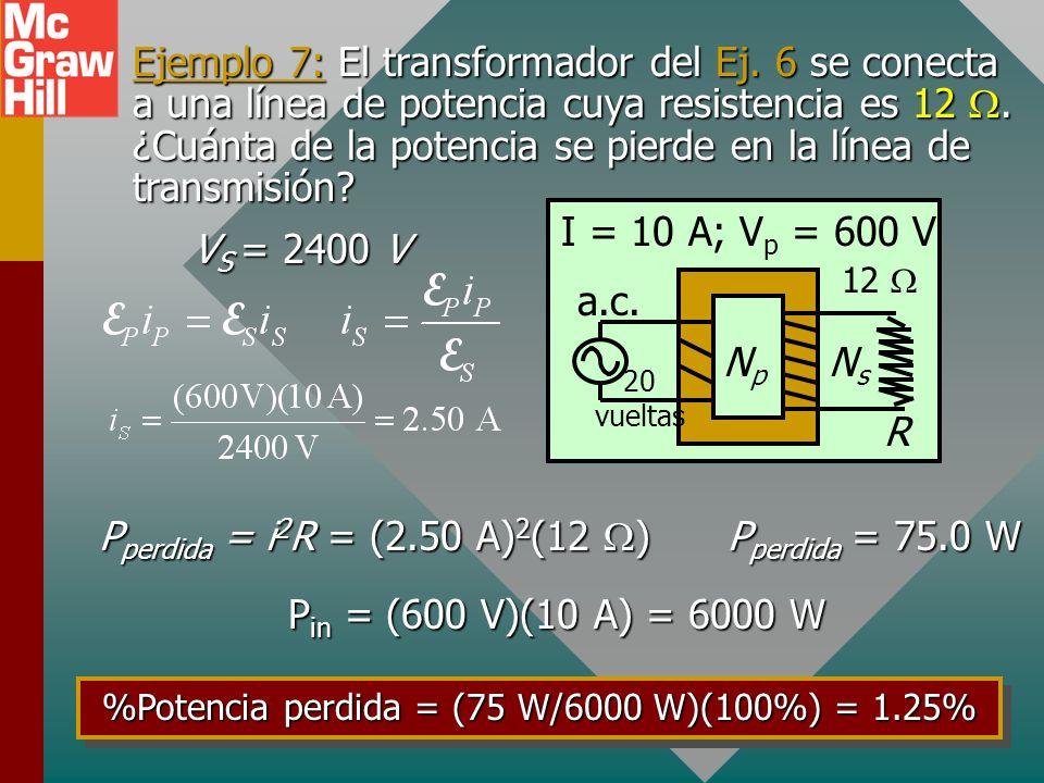 Ejemplo 7: El transformador del Ej.6 se conecta a una línea de potencia cuya resistencia es 12.