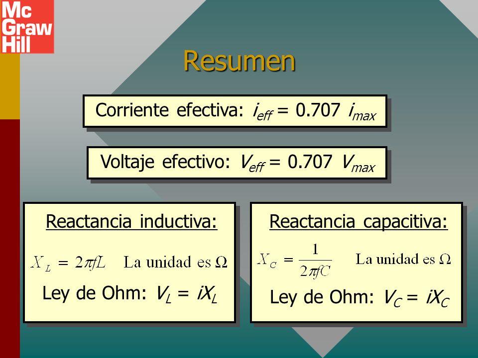 Resumen Corriente efectiva: i eff = 0.707 i max Voltaje efectivo: V eff = 0.707 V max Reactancia inductiva: Ley de Ohm: V L = iX L Reactancia capacitiva: Ley de Ohm: V C = iX C