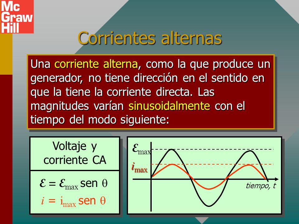 Corrientes alternas Una corriente alterna, como la que produce un generador, no tiene dirección en el sentido en que la tiene la corriente directa.