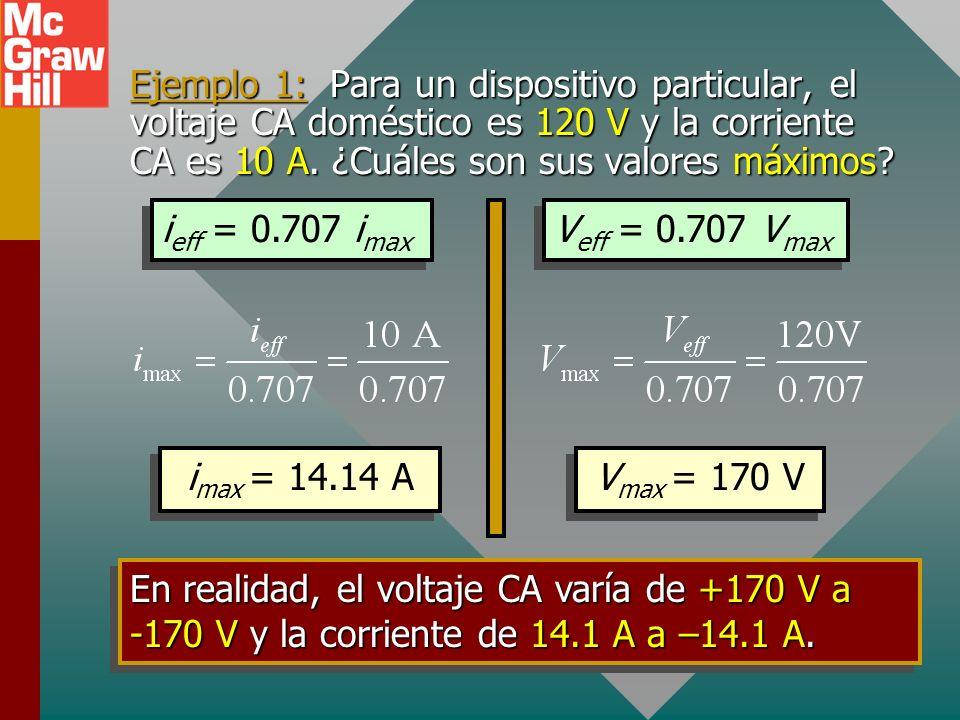 Ejemplo 1: Para un dispositivo particular, el voltaje CA doméstico es 120 V y la corriente CA es 10 A.