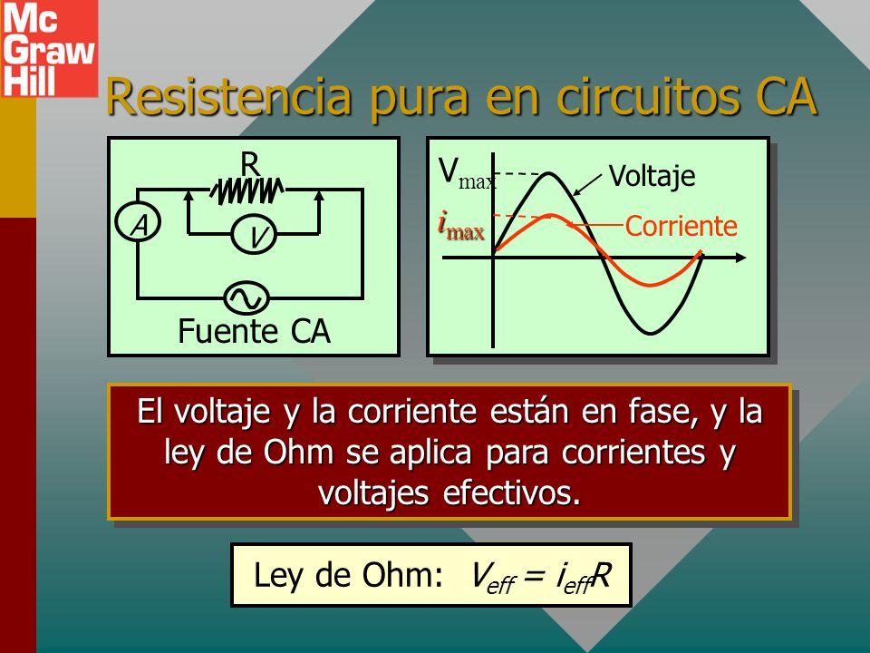 Resistencia pura en circuitos CA A Fuente CA R V El voltaje y la corriente están en fase, y la ley de Ohm se aplica para corrientes y voltajes efectivos.