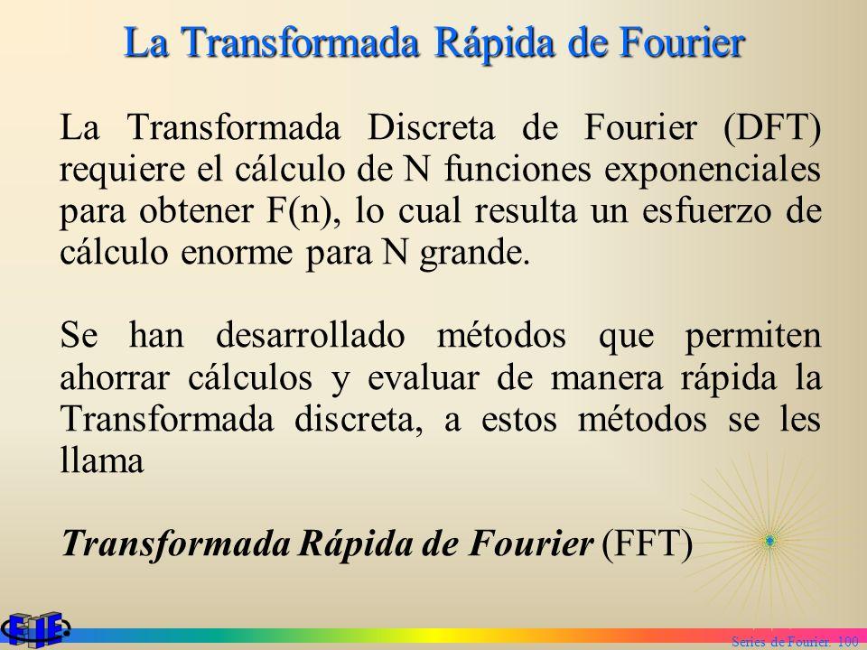 Series de Fourier. 100 La Transformada Rápida de Fourier La Transformada Discreta de Fourier (DFT) requiere el cálculo de N funciones exponenciales pa