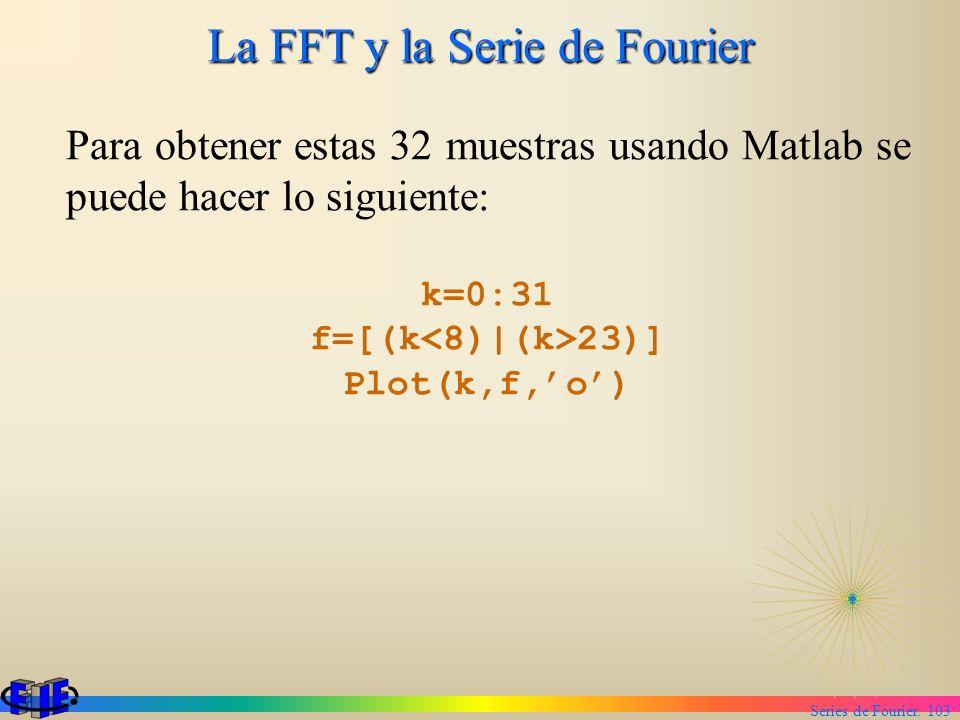 Series de Fourier. 103 La FFT y la Serie de Fourier Para obtener estas 32 muestras usando Matlab se puede hacer lo siguiente: k=0:31 f=[(k 23)] Plot(k