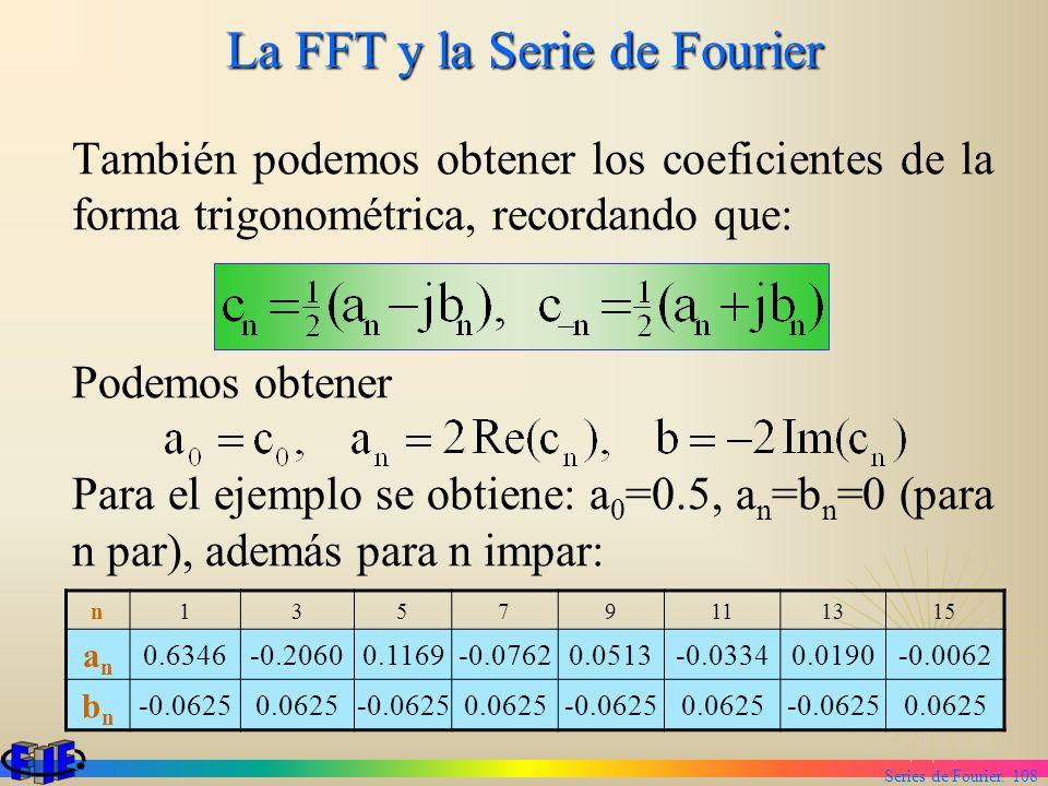 Series de Fourier. 108 La FFT y la Serie de Fourier También podemos obtener los coeficientes de la forma trigonométrica, recordando que: Podemos obten