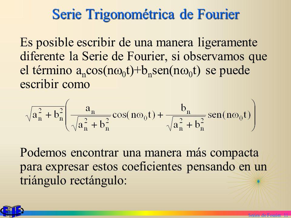 Series de Fourier. 11 Serie Trigonométrica de Fourier Es posible escribir de una manera ligeramente diferente la Serie de Fourier, si observamos que e