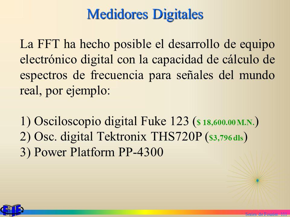 Series de Fourier. 111 Medidores Digitales La FFT ha hecho posible el desarrollo de equipo electrónico digital con la capacidad de cálculo de espectro