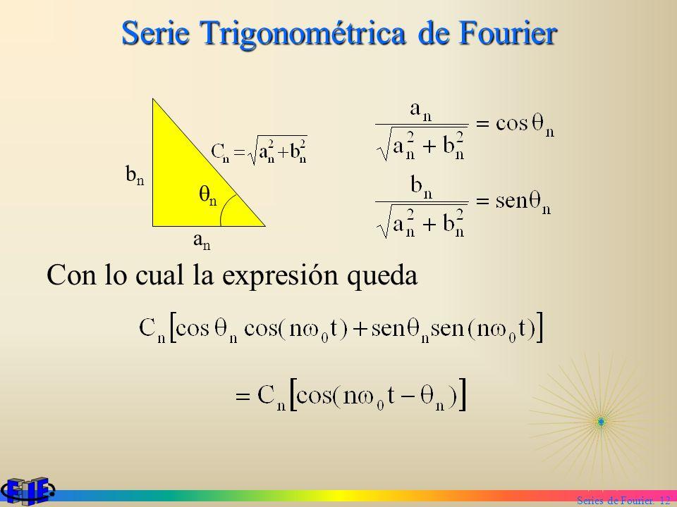 Series de Fourier. 12 Serie Trigonométrica de Fourier Con lo cual la expresión queda anan bnbn n