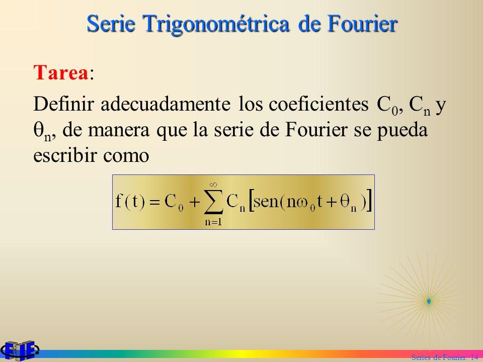 Series de Fourier. 14 Serie Trigonométrica de Fourier Tarea: Definir adecuadamente los coeficientes C 0, C n y n, de manera que la serie de Fourier se