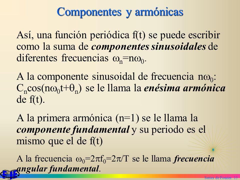 Series de Fourier. 15 Componentes y armónicas Así, una función periódica f(t) se puede escribir como la suma de componentes sinusoidales de diferentes
