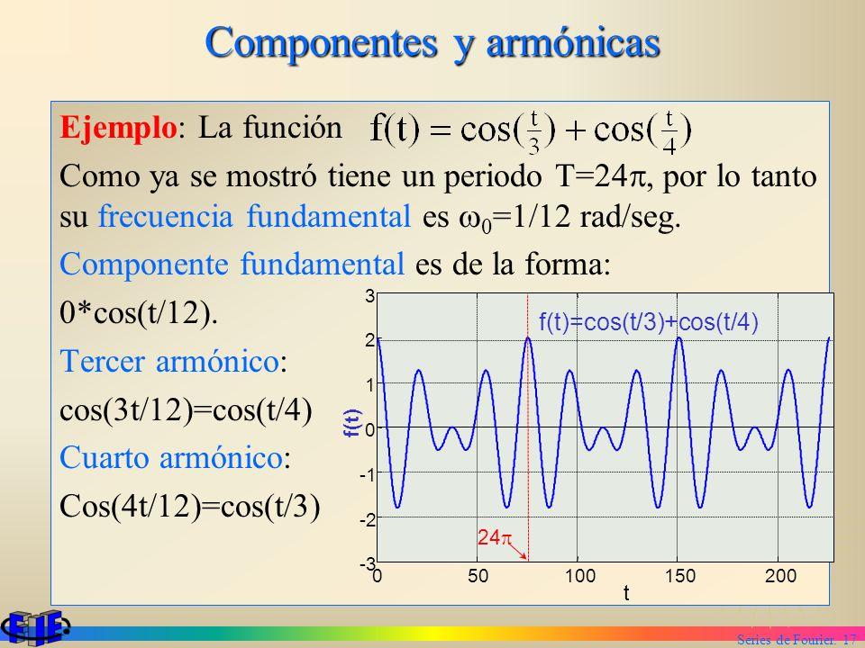 Series de Fourier. 17 Componentes y armónicas Ejemplo: La función Como ya se mostró tiene un periodo T=24, por lo tanto su frecuencia fundamental es 0