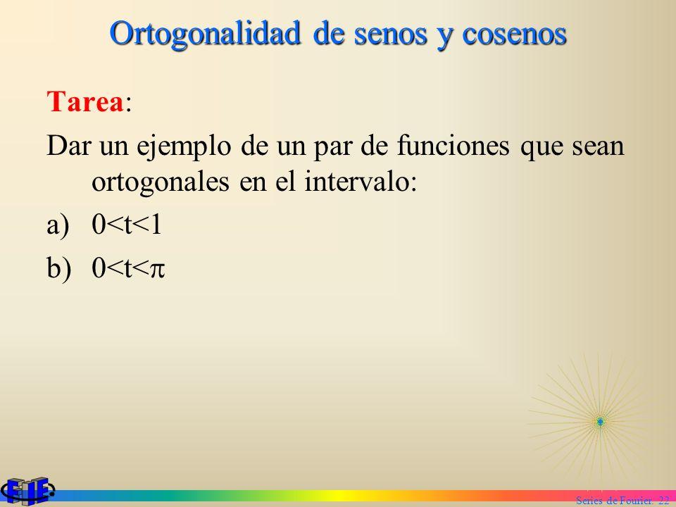 Series de Fourier. 22 Ortogonalidad de senos y cosenos Tarea: Dar un ejemplo de un par de funciones que sean ortogonales en el intervalo: a)0<t<1 b)0<