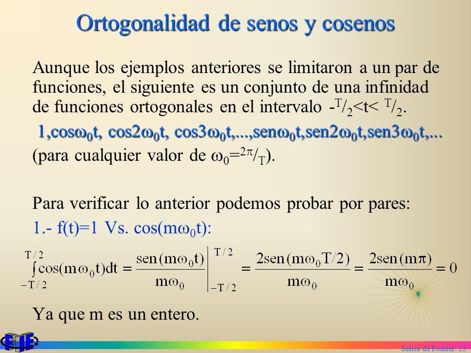 Series de Fourier. 23 Ortogonalidad de senos y cosenos Aunque los ejemplos anteriores se limitaron a un par de funciones, el siguiente es un conjunto