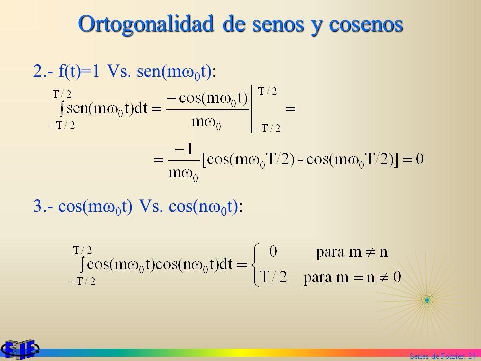 Series de Fourier. 24 Ortogonalidad de senos y cosenos 2.- f(t)=1 Vs. sen(m 0 t): 3.- cos(m 0 t) Vs. cos(n 0 t):