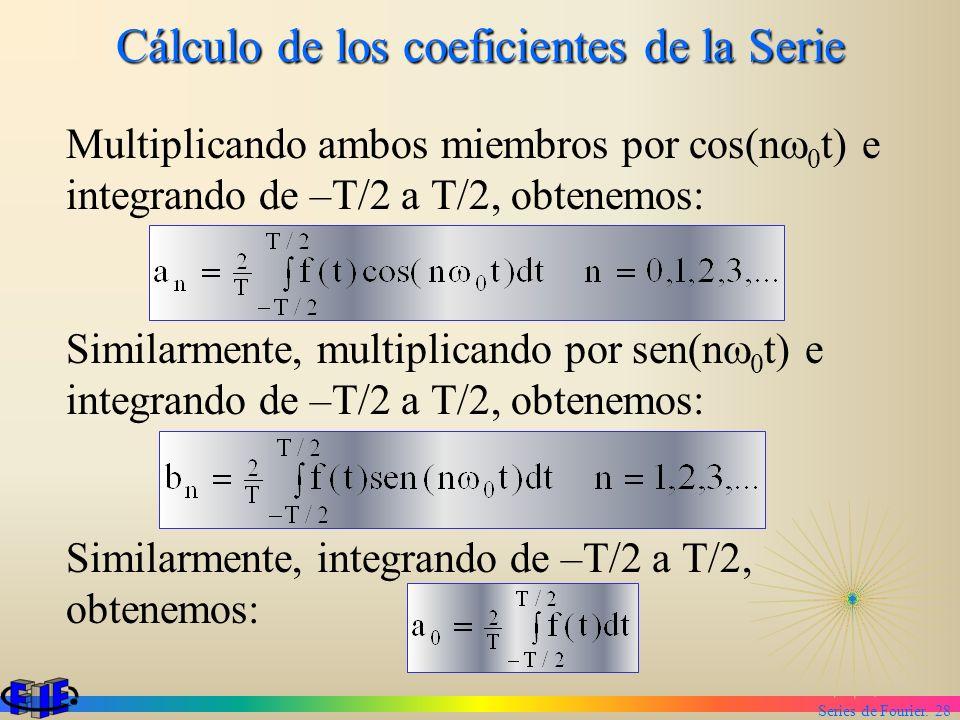 Series de Fourier. 28 Cálculo de los coeficientes de la Serie Multiplicando ambos miembros por cos(n 0 t) e integrando de –T/2 a T/2, obtenemos: Simil