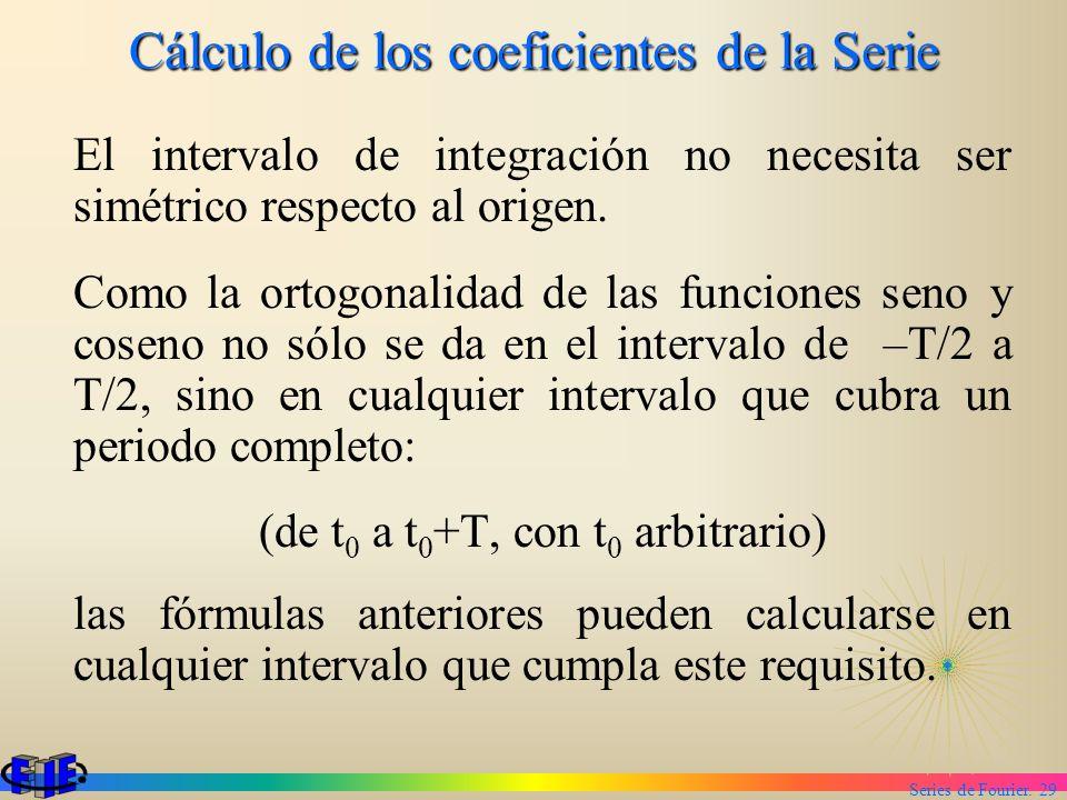 Series de Fourier. 29 Cálculo de los coeficientes de la Serie El intervalo de integración no necesita ser simétrico respecto al origen. Como la ortogo