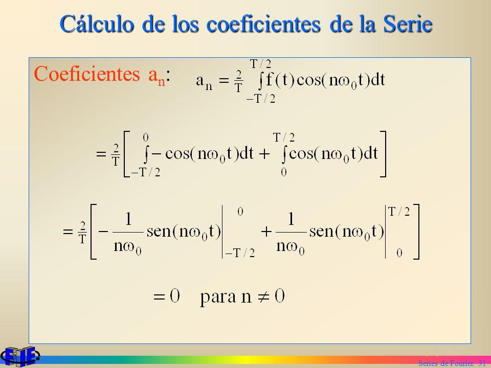 Series de Fourier. 31 Cálculo de los coeficientes de la Serie Coeficientes a n :