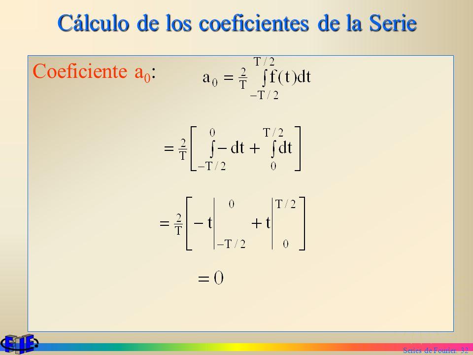 Series de Fourier. 32 Cálculo de los coeficientes de la Serie Coeficiente a 0 :