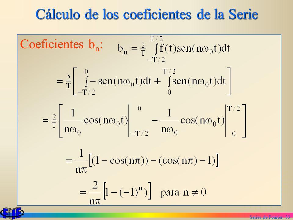 Series de Fourier. 33 Cálculo de los coeficientes de la Serie Coeficientes b n :