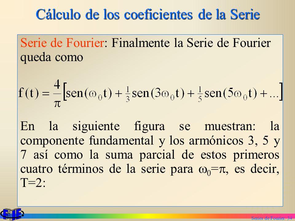 Series de Fourier. 34 Cálculo de los coeficientes de la Serie Serie de Fourier: Finalmente la Serie de Fourier queda como En la siguiente figura se mu
