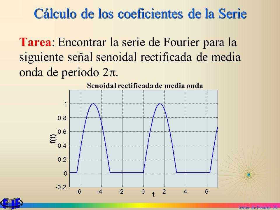 Series de Fourier. 36 Cálculo de los coeficientes de la Serie Tarea: Encontrar la serie de Fourier para la siguiente señal senoidal rectificada de med