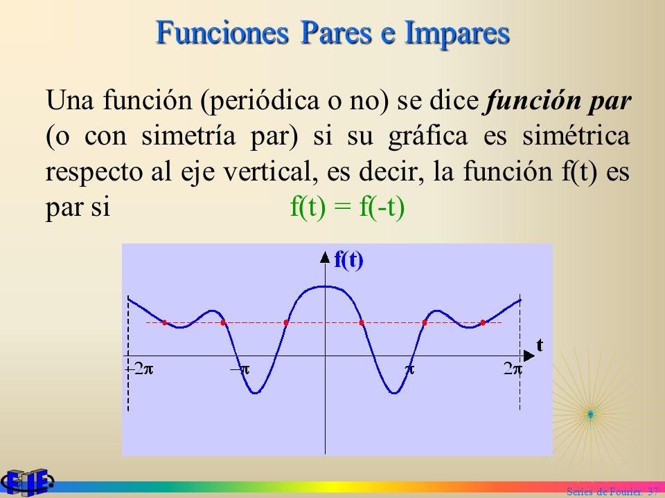 Series de Fourier. 37 Funciones Pares e Impares Una función (periódica o no) se dice función par (o con simetría par) si su gráfica es simétrica respe