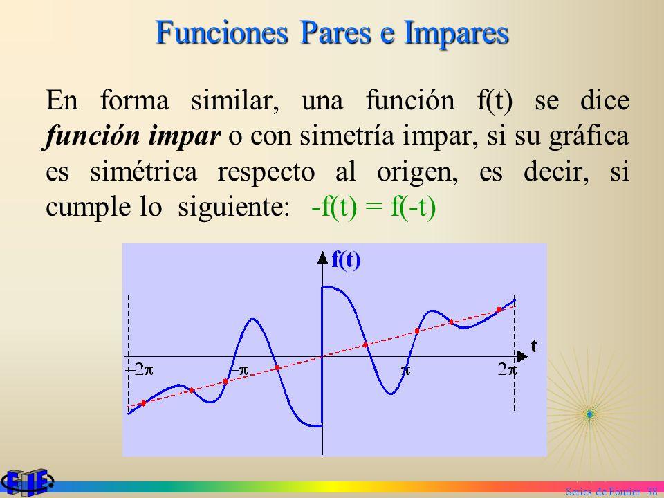 Series de Fourier. 38 Funciones Pares e Impares En forma similar, una función f(t) se dice función impar o con simetría impar, si su gráfica es simétr