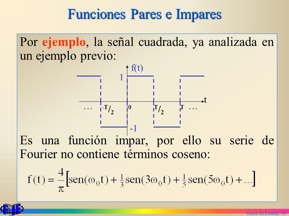 Series de Fourier. 43 Funciones Pares e Impares Por ejemplo, la señal cuadrada, ya analizada en un ejemplo previo: Es una función impar, por ello su s