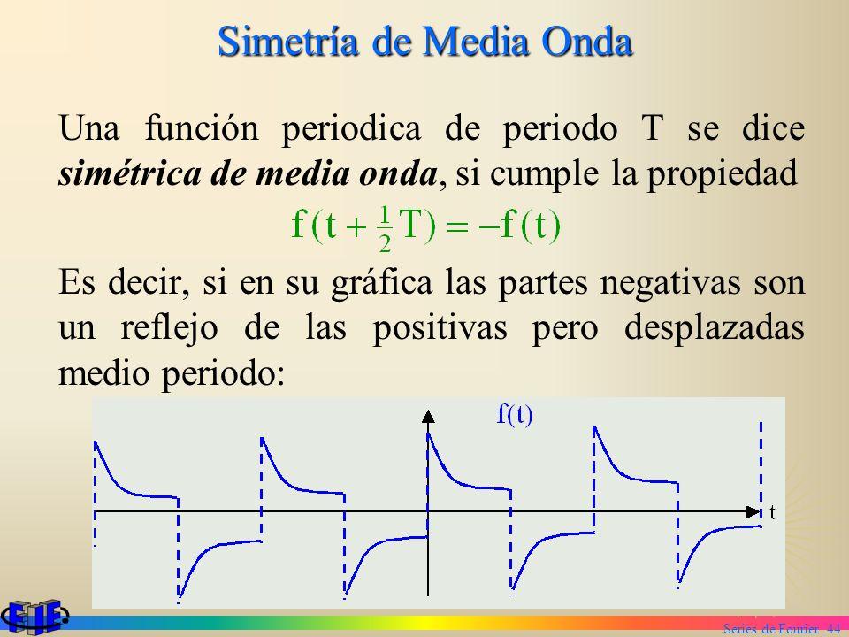 Series de Fourier. 44 Simetría de Media Onda Una función periodica de periodo T se dice simétrica de media onda, si cumple la propiedad Es decir, si e