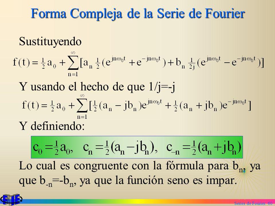 Series de Fourier. 60 Forma Compleja de la Serie de Fourier Sustituyendo Y usando el hecho de que 1/j=-j Y definiendo: Lo cual es congruente con la fó