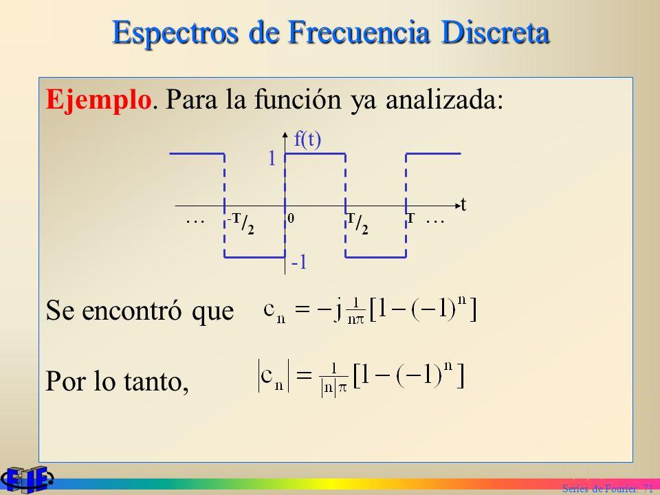 Series de Fourier. 71 Espectros de Frecuencia Discreta Ejemplo. Para la función ya analizada: Se encontró que Por lo tanto, 1 f(t) t... -T / 2 0 T / 2