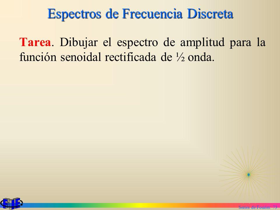 Series de Fourier. 73 Espectros de Frecuencia Discreta Tarea. Dibujar el espectro de amplitud para la función senoidal rectificada de ½ onda.