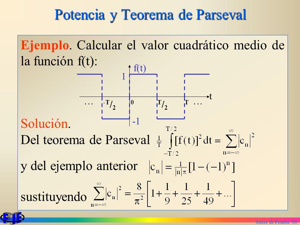 Series de Fourier. 80 Potencia y Teorema de Parseval Ejemplo. Calcular el valor cuadrático medio de la función f(t): Solución. Del teorema de Parseval