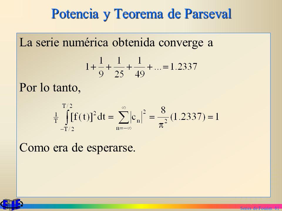 Series de Fourier. 81 Potencia y Teorema de Parseval La serie numérica obtenida converge a Por lo tanto, Como era de esperarse.