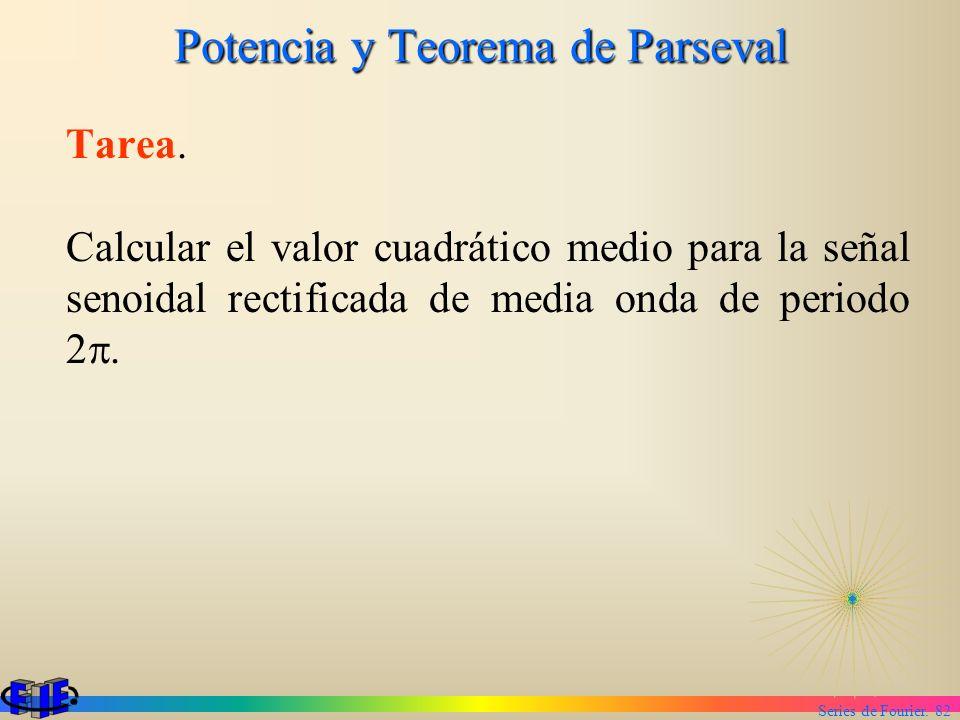 Series de Fourier. 82 Potencia y Teorema de Parseval Tarea. Calcular el valor cuadrático medio para la señal senoidal rectificada de media onda de per