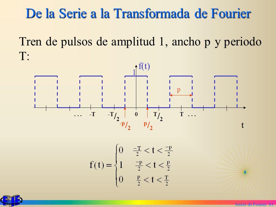 Series de Fourier. 84 De la Serie a la Transformada de Fourier Tren de pulsos de amplitud 1, ancho p y periodo T: 1 f(t) t... -T -T / 2 0 T / 2 T... p